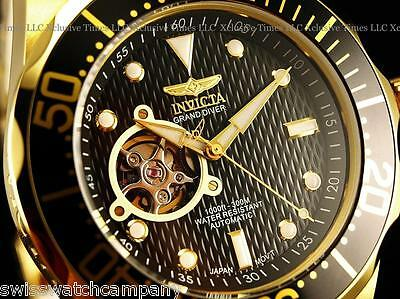 NEW! Invicta Men's GRAND DIVER 18K Gold IP Open Heart NH38A Automatic Watch-Rare