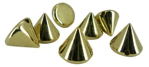 Or Acrylique Cône Spike Bead Spot Stud Punk Pyramide Bracelet Cuir Flatback
