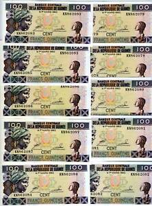 LOT-Guinea-10-x-100-Francs-1998-P-35-UNC-gt-Replaced-by-the-reduced-size-note