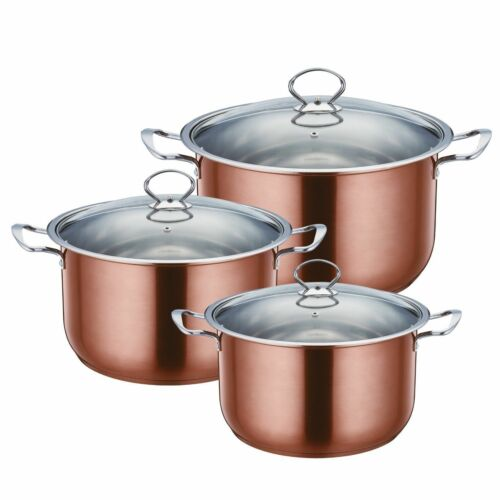 Sq Pro metálico de acero inoxidable 3pc Cocina//Cazuela Olla Set 28 a 32cm,3 Color