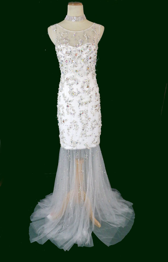 New Jovani 88087 Genuine White Beaded Bridal Formal Evening Gown Party Dress 12