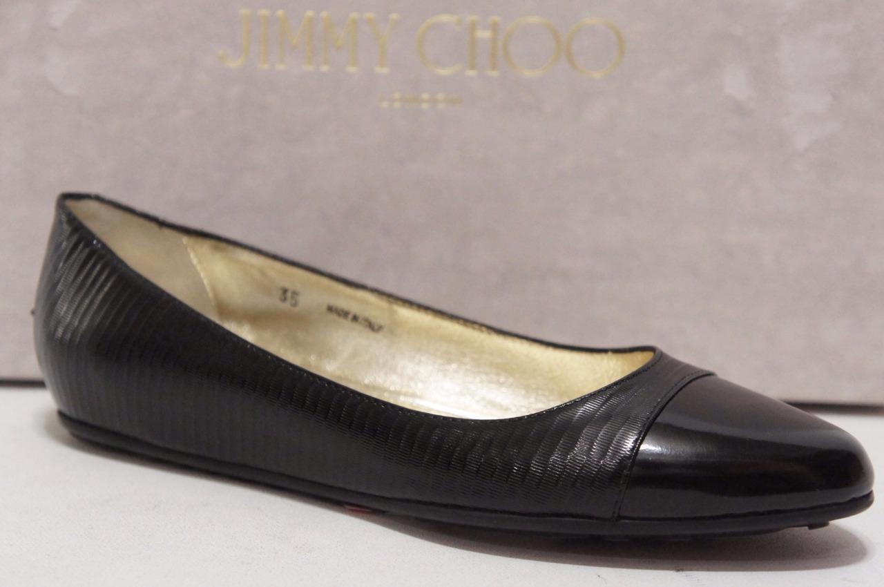 JIMMY CHOO WAINE WAINE WAINE CAP-TOE BALLERINA FLAT SHOES 35/4.5 $475 1e1e61