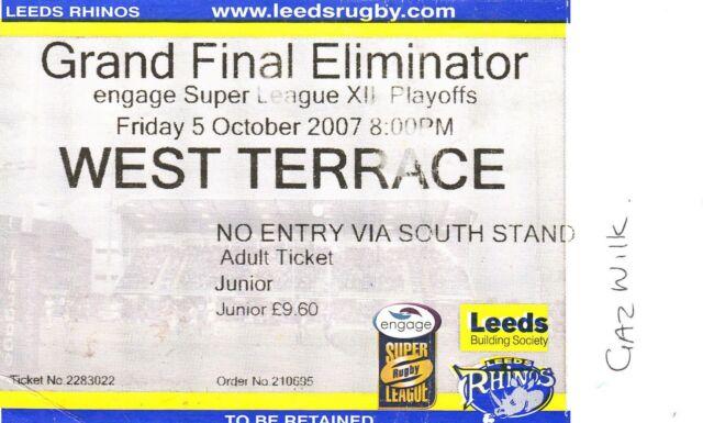 Ticket - Leeds Rhinos v Wigan Warriors 05.10.2007 Grand Final Eliminator