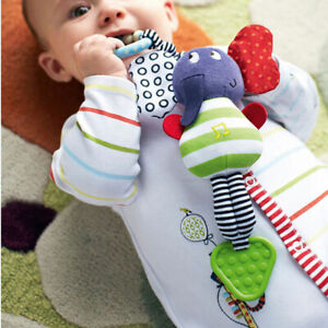 Music Elephant Bell Rattle Safety Seat Baby Kids Soft Plush Stroller Dolls Toys
