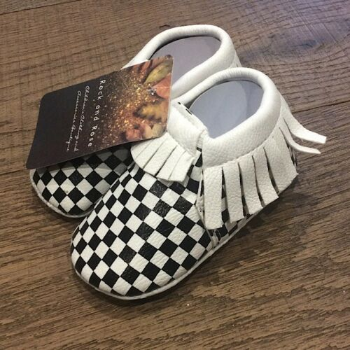 Baby Boy Girl Moccasin Fringed Alternative Punk Rock Metal First Shoes 0-6 12-18