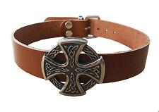 Cuir Véritable Collier collier Gothique Moyen-âge Celtique Croix cognac neuf
