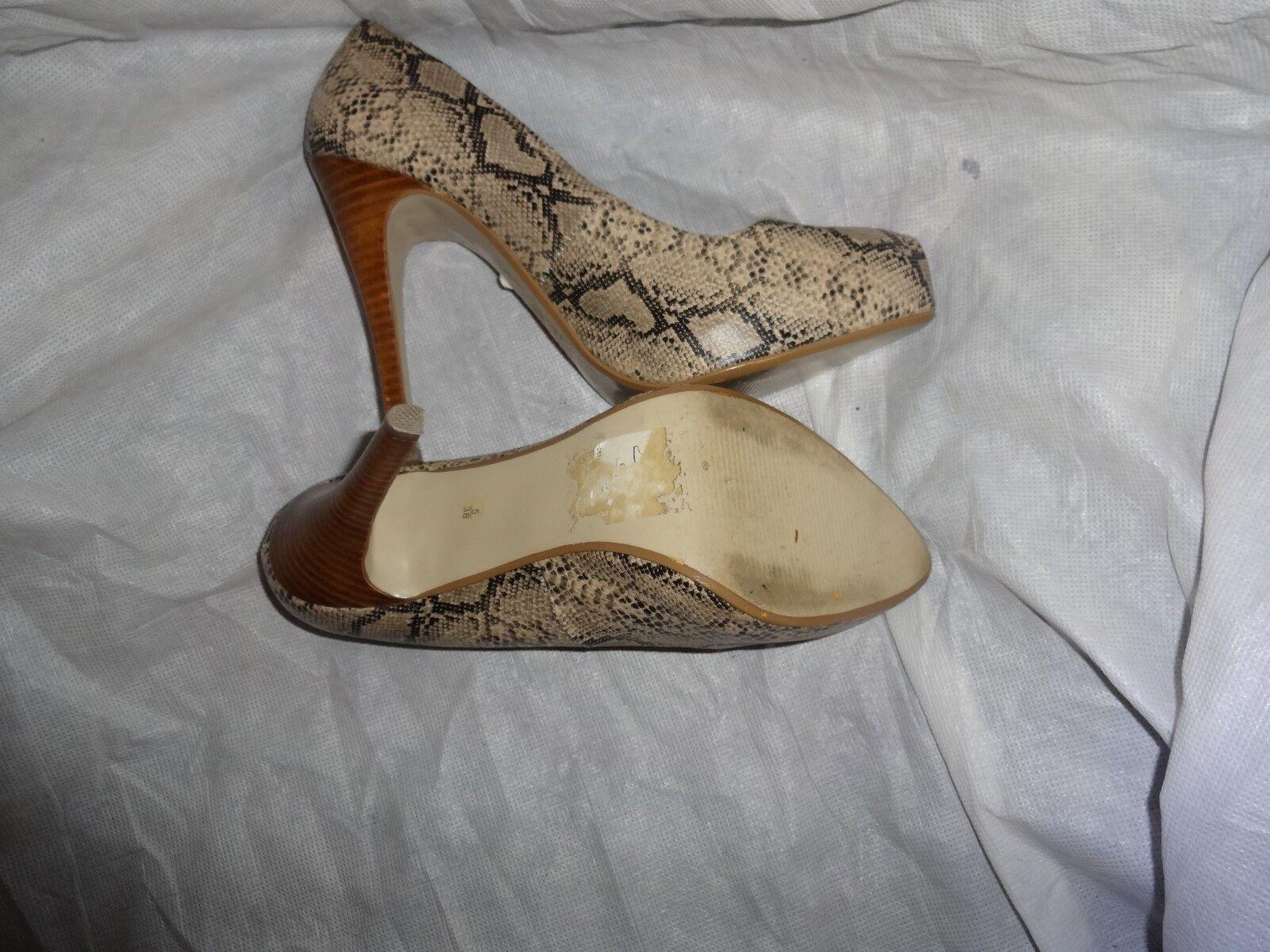 JASPER CONRAN WOMEN SNAKE LEATHER SIZE SLIP ON HEEL Schuhe SIZE LEATHER UK 5 EU 38 VGC 202726