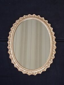 Vintage-Wooden-Gold-Scroll-MCM-Hollywood-Regency-Ornate-Oval-Wall-Mirror