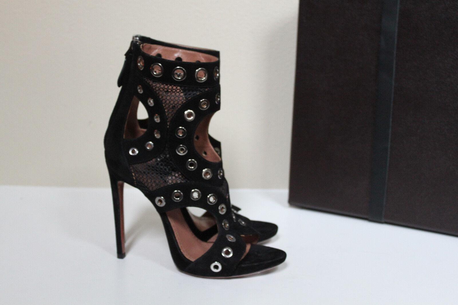 New sz 8.5 US US 8.5 / 38.5 Azzedine Alaia Black Suede Open Toe Ankle Sandal Heel Shoes e60bd9
