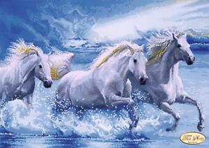 Perlen Stickbild sticken Stickpackung Pferde 24x34 cm Stickvorlage mit Vordruck