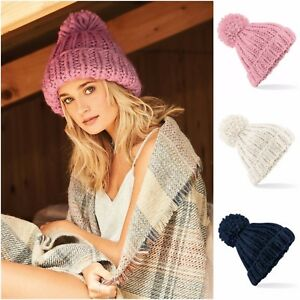 Luxury Oversized Hand Knitted Bobble Beanie Hat Chunky Winter Warm Woolly Ski