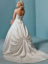 ORG $799 Alfred Angelo 1622 Ivory 10 Formal Wedding Gown Beaded A-line Dress