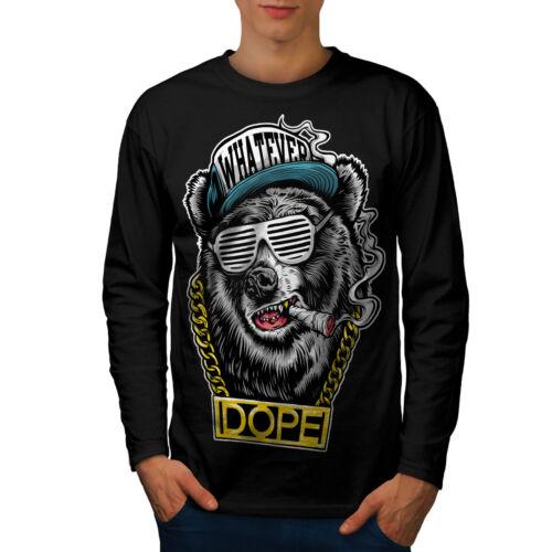 design grafico Wellcoda CATENA Swag Bear MODA DA UOMO MANICA LUNGA T-shirt