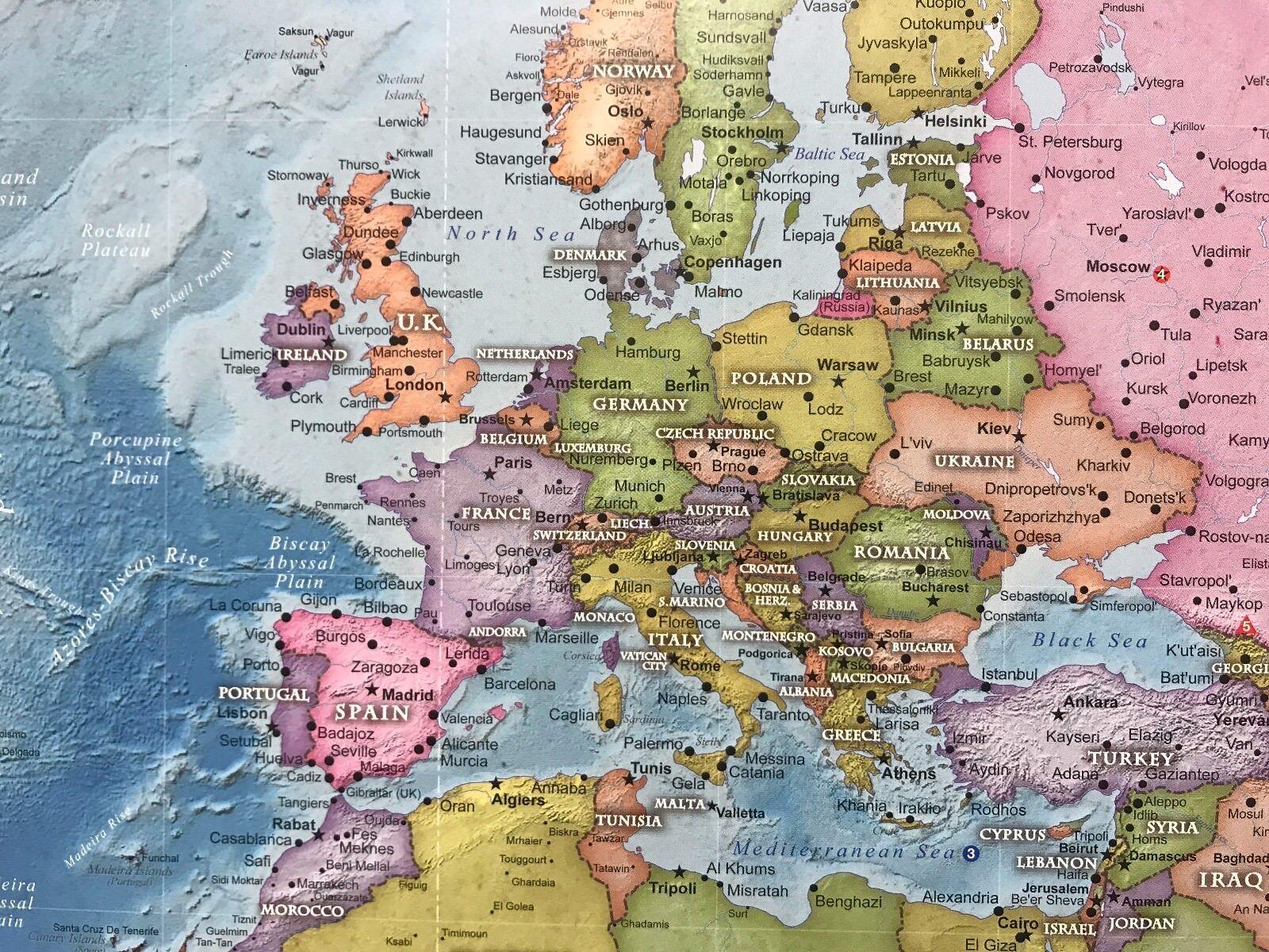 New New New Push Pin Travel Farbe World Map With Dark Coffee braun ...