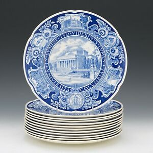 Rare-Columbia-University-Signed-Wedgwood-First-Edition-Plate-Complete-Set-of-12