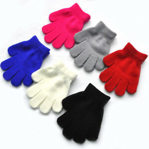 New 3-7T Winter Warm Child Knitted Stretch Mittens Kids Solid Full Finger Gloves