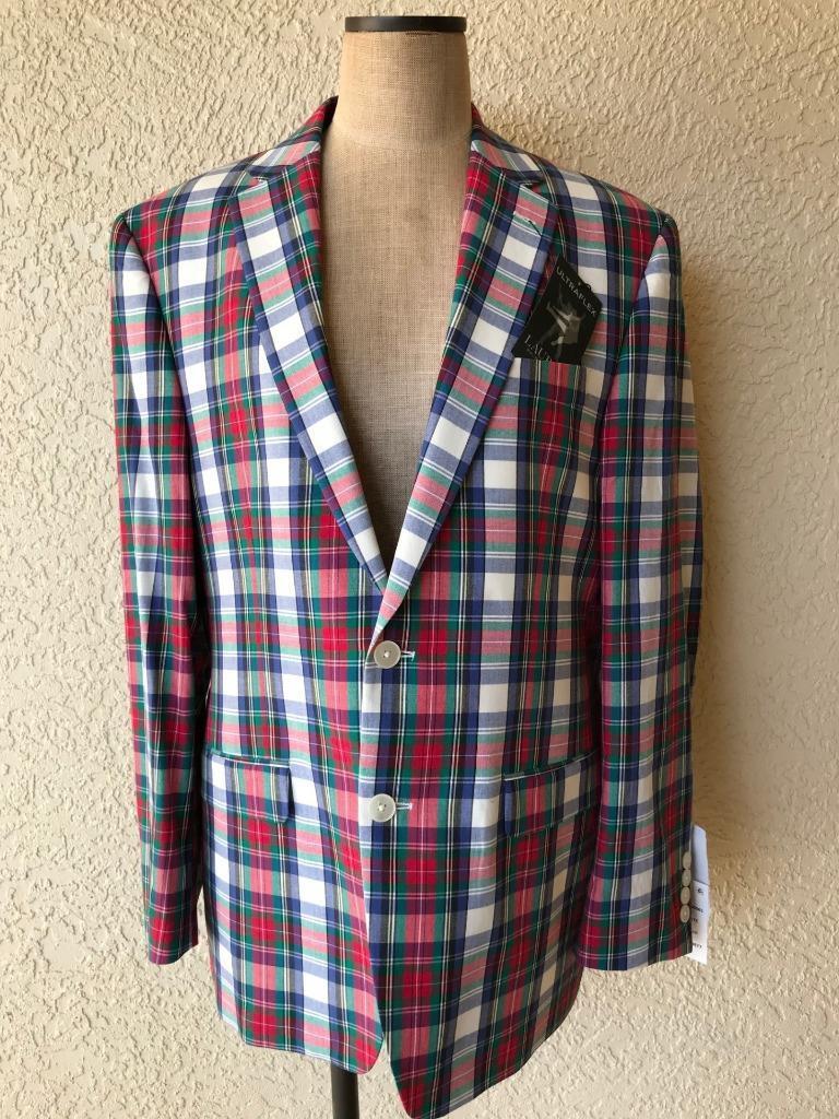 Ralph Lauren Men 41R NWT 295 Plaid Cotton Blazer Sport Coat Lined 2 button NEW