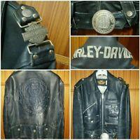 Harley Davidson leather jacket vintage giacca pelle Giubbotto M