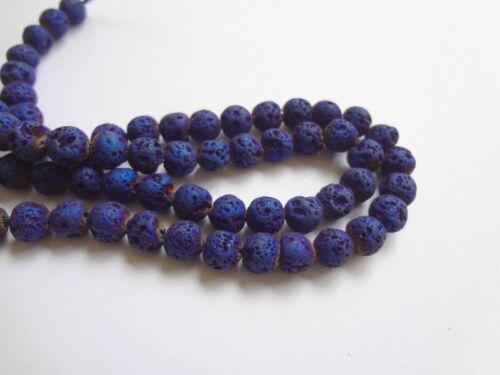 "6mm Round Blue Titanium Coated Lava Rock Gemstone Beads 15/"" Strand"