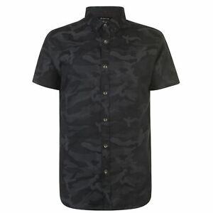 Firetrap-Para-Hombres-Camisa-Informal-De-Algodon-De-Manga-Corta-Camo-Cuello-Doble-hacia-abajo