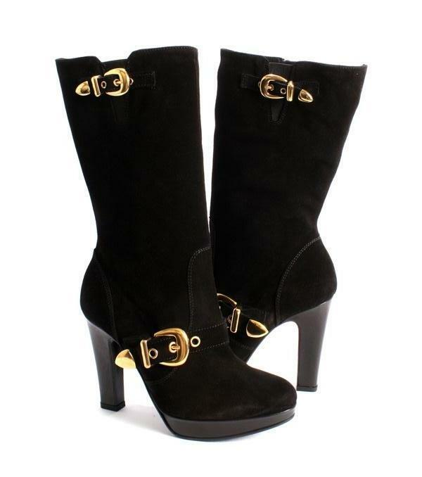 Donna Piu 8790 Black Suede High Heel Mid-Calf Boots 39 / US 9
