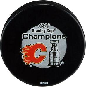 Calgary-Flames-Unsigned-1989-Stanley-Cup-Champions-Logo-Hockey-Puck-Fanatics