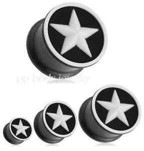 PAIR-2g-5-8-034-Black-with-White-Star-Flexible-Silicone-Double-Flared-Ear-Plugs