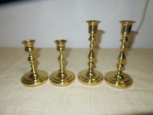 Vintage-2-Pairs-7-034-and-5-034-Carolina-Brass-Candleholder-Candlesticks