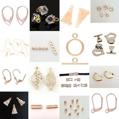 3 Pair Rose Gold Plated Ear Stud Tray Settings Findings 10mm-14mm lady-muck1