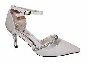 Zapatos de Novia Noche Zapatos Plata Negro Con Tiras Muy Noble 6324- 35