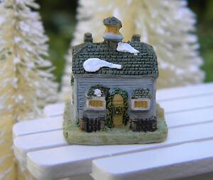 Miniature dollhouse fairy garden christmas tiny 1 snow village cottage new ebay - The tiny house village a miniature settlement ...