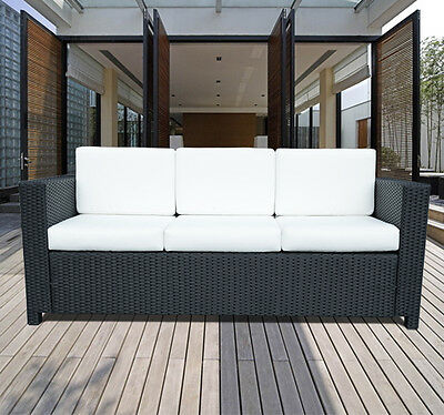 Rattan Garden Furniture 3 Seater Chair Sofa Patio Conservatory Wicker Black New