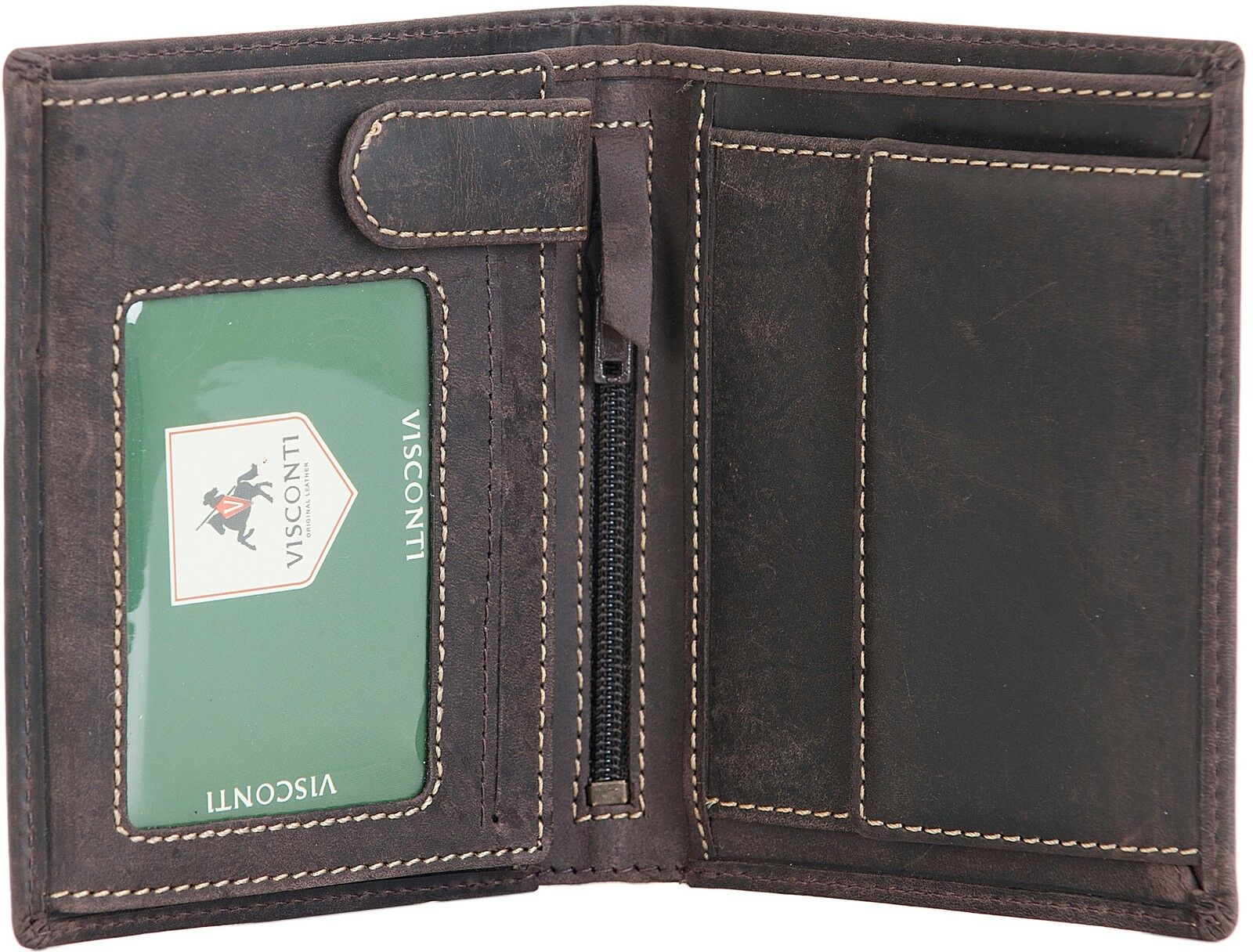 Visconti Mens Oil Brown Real Leather 4 Card Bifold Wallet With Coin Pouch 709