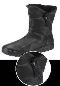 Details zu ECCO Damen FARA Hohe ECHTES LEDER Stiefel Schwarz (Black 1001) Stiefel Größe 39