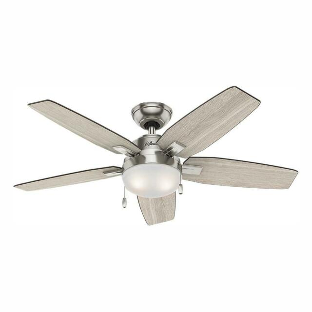 Antero 46 in. LED Indoor Brushed Nickel Ceiling Fan with Light by Hunter