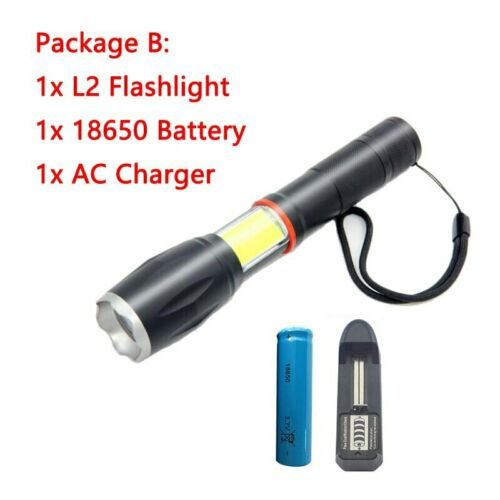 T6//L2 LED Flashlight torch COB side light lamp With Magnet Lantern flash Torches
