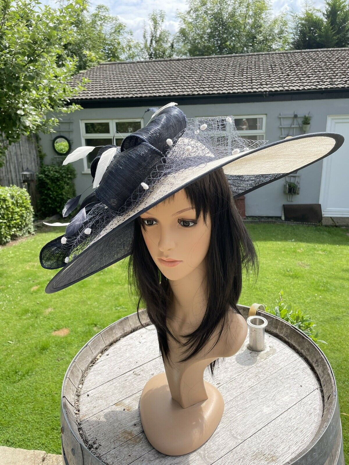 SNOXELL GWYTHER NAVY BLUE AND IVORY WEDDING HATINATOR HAT MOTHER OF THE BRIDE