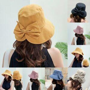 Ladies-Anti-UV-Wide-Brim-Summer-Beach-Cotton-Bucket-Sun-Protective-Hat-Bows-Cap