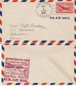US-1946-FLYING-POST-OFFICE-DEMONSTRATION-FIRST-FLIGHT-FLOWN-COVER-FORT-WORTH-TX