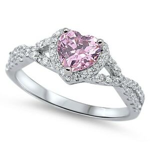 Sterling-Silver-925-HEART-LOVE-KNOT-PINK-CLEAR-CZ-PROMISE-RING-8MM-SIZE-4-12