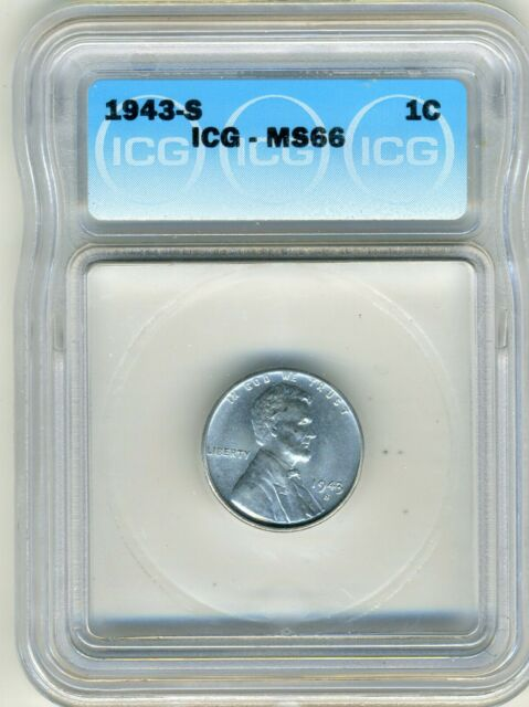 1943-S LINCOLN CENT ICG MS66