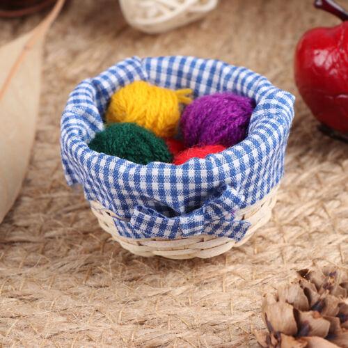 1:12 Dollhouse miniature accessories mini cloth wool basket simulation model FLA