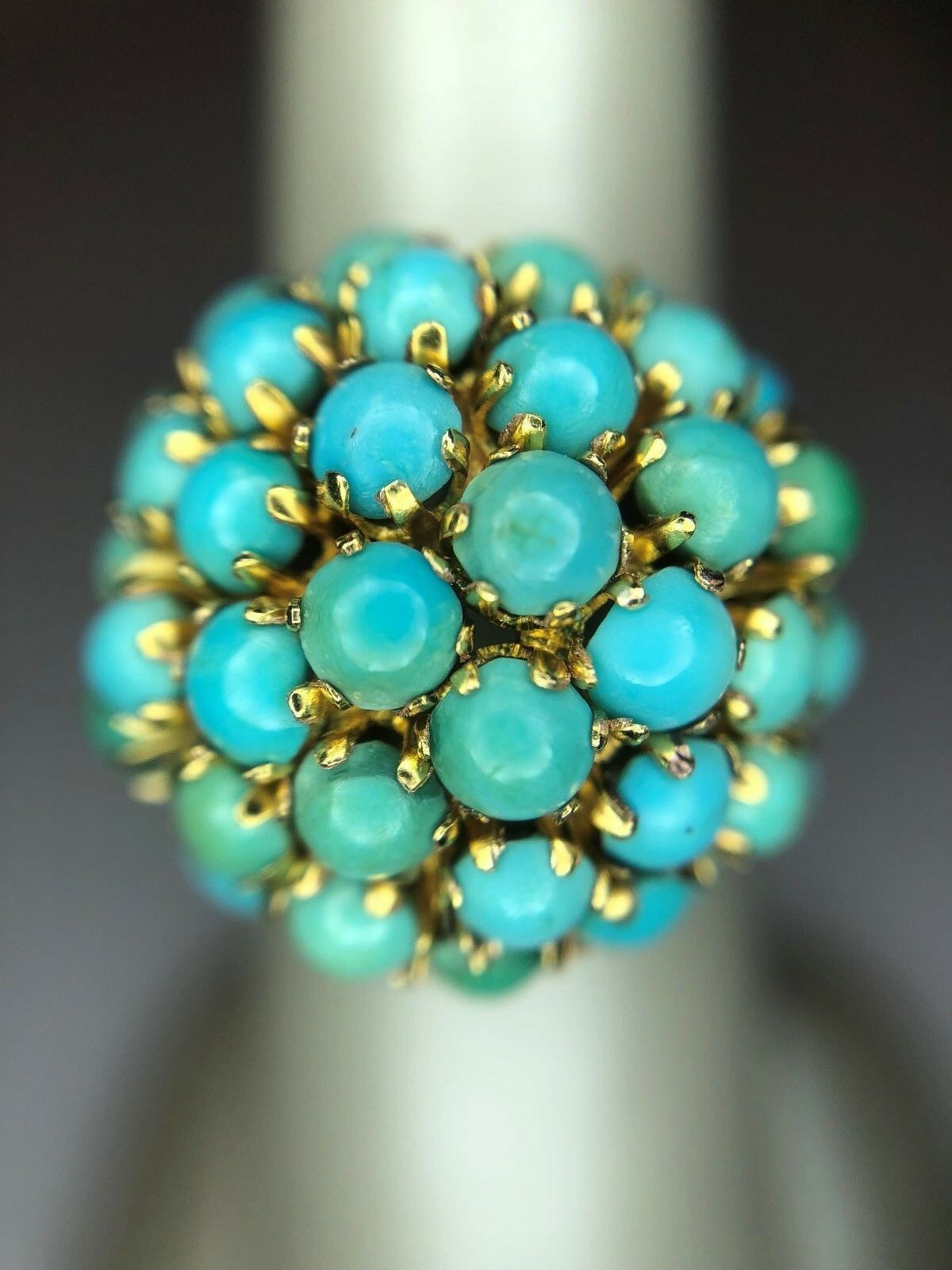 14KY Turquoise Vintage Cluster Ring; Beautifully Unique
