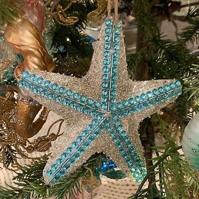 New Pottery Barn Blue Glitter Whale Glass Christmas Ornament NIB