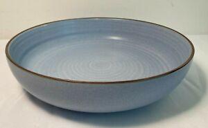 New-Anthropologie-Periwinkle-Blue-Brown-Trim-Matte-Glazed-Stoneware-Serving-Bowl