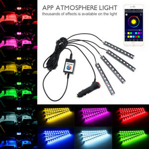 4X Waterproof LED Strip Light Music Control Lamp Kit For Car Motorcycle DC 12V