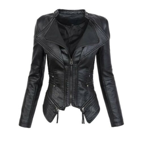 Occident Women Leather Jacket Short Bomer Zip V Neck Motor Biker Punk Coats New