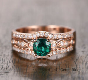 e2b18afd7f23c Details about Round Treated Emerald Engagement Ring Solid 14K Rose Gold  Three Row Diamond Band