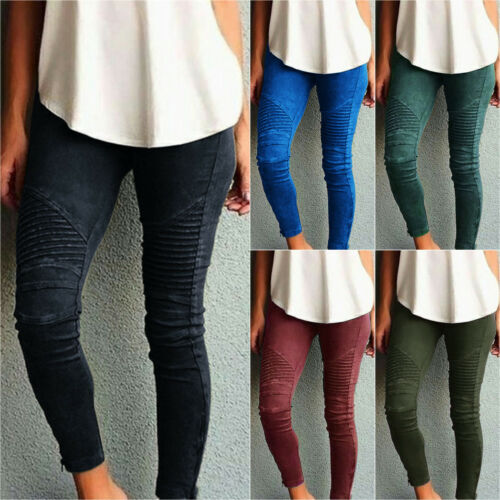 Damen High Waist Stretch Hose Jeans Röhre Skinny Leggings Röhrenjeans Leggins