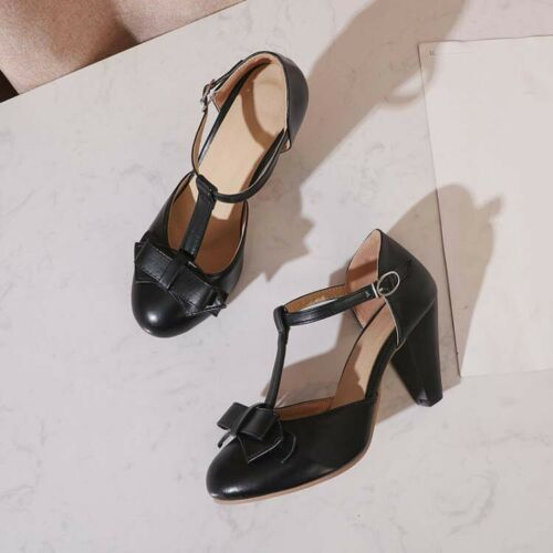 Womens Bowtie Kitten High Heel T-strap Work Shoes T-Bar Pumps OL Shoes Plus Size